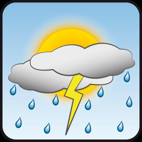 Parcialmente nublado con aguaceros y tormenta eléctrica